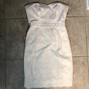 Worn Once Bebe Satin Top Lace Strapless Dress